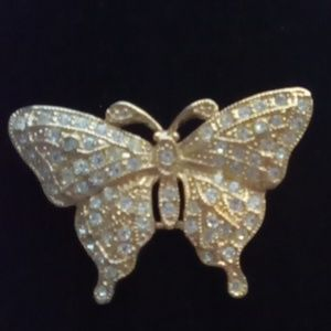 Beautiful Vtg Rhinestone Butterfly Brooch.Signed